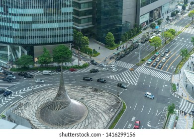 Nagoya, Japan - May 13, 2019: Nagoya Shinkansen Station traffic circle.