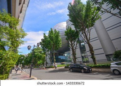 Nagoya, Japan -  May 22, 2019 : The Nagoya City Science Museum ( Nagoya-shi Kagakukan) features a characteristic giant silver globe, one of the world's largest planetariums.