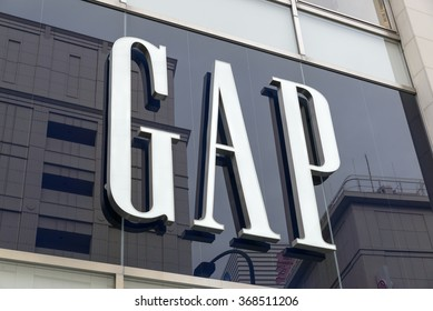 NAGOYA, JAPAN - MAY 9, 2015: Detail of Gap store in Nagoya, Japan. Gap is an American multinational clothing and accessories retailer, founded in 1969.