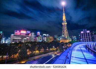 Nagoya, Japan - Nov 9, 2016 : Nagoya TV tower and Oasis 21 dazzling shine among the city of Nagoya. Nagoya TV tower and Oasis 21 building are the well known landmarks of Nagoya, Japan.
