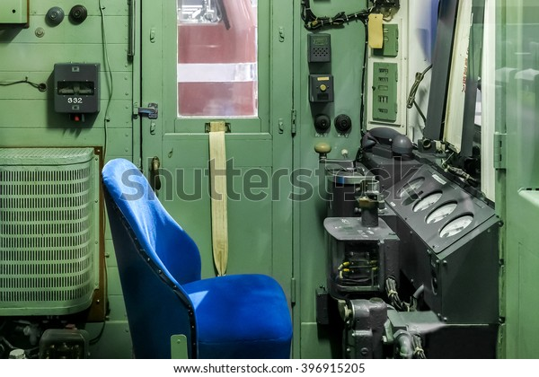 NAGOYA, JAPAN - NOVEMBER 18, 2015: Interior inside an antique train at The SCMaglev and Railway Park which features 39 full-size railway vehicles