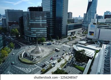 NAGOYA, JAPAN - November 18, 2018: Spiral building symbol on the Street and Modern skyscrapers building in Nagoya City, Japan.