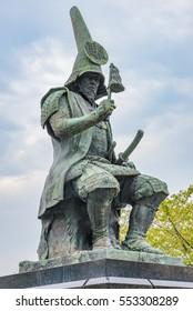 NAGOYA, JAPAN - SEP 11: Statue of Kiyomasa Kato at Nagoya Castle Park in Nagoya, Aichi Prefecture, Japan on September 11, 2016. Aichi Prefecture is a prefecture of Japan located in the Chubu region.