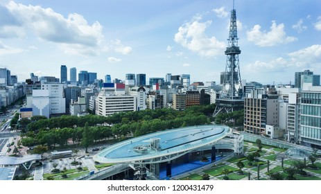 NAGOYA, JAPAN - sep 13, 2017: oasis21( complex facility ) and TV tower(broadcast tower) are public location
