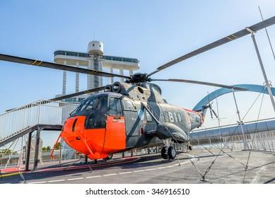 NAGOYA - NOV 30 2015: A helicopter of Japan Maritime Self Defense Force landed on Antarctic research ship in Nagoya for exhibition on November 30, 2015.
