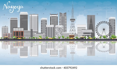 Nagoya Skyline with Gray Buildings, Blue Sky and Reflections. Business and Tourism Concept with Modern Buildings. Image for Presentation, Banner, Placard or Web Site.