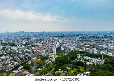 NAGOYA,JAPAN- APRIL 30,2018: Higashiyama Sky Tower is an observation tower to Higashiyama animals and plants180 m altitude,you can see the city such as JR Central Towers,Nagoya TV Tower,Nagoya Dome.