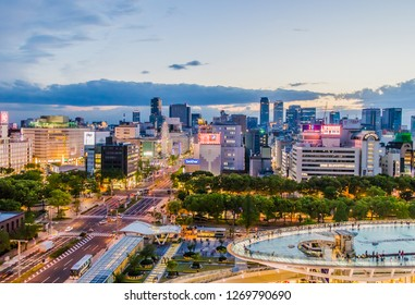 NAGOYA,JAPAN- APRIL 30,2018: Nagoya city and oasis 21 beautiful nightscape at night time.Beautiful View of Nagoya city ,Japan.
