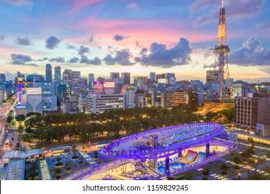 NAGOYA,JAPAN- August 14,2018: Cityscape of Nagoya city with Nagoya TV Tower and Oasis 21 at Twilight.
