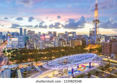 NAGOYA,JAPAN- August 14,2018: Cityscape of Nagoya city with Nagoya TV Tower and Oasis 21 at Twilight.