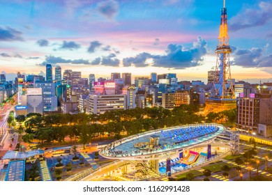 NAGOYA,JAPAN- August 14,2018: Nagoya TV Tower and Oasis 21 at twilight of Nagoya city ,Japan. Nagoya skyscraper.