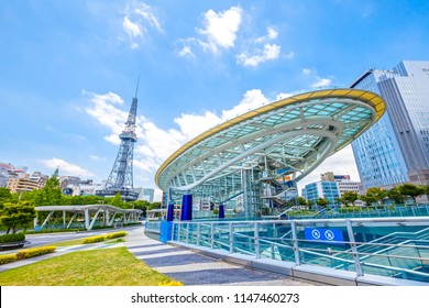 Nagoya,Japan - July 31,2018 - Cityscape of Nagoya with Nagoya TV Tower in Odori Park in Sakae,Nagoya, Aichi, Japan.