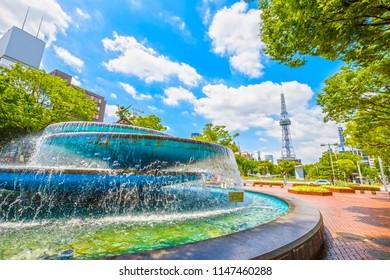 Nagoya,Japan - July 31,2018 - Cityscape of Nagoya with Nagoya TV Tower in Odori Park in Sakae,Nagoya, Aichi, Japan.