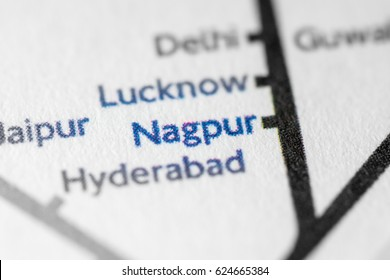Nagpur, India on a geographical map.
