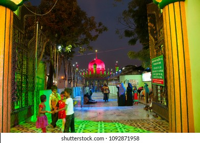 NAGPUR, MAHARASHTRA, INDIA, 2 DECEMBER 2016 :Unidentified pilgrims visit the sufi shrine Tajuddin Baba Dargah. this shrine of most revered sufi saint Tajuddin Baba, Nagpur.