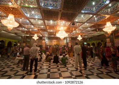 NAGPUR, MAHARASHTRA, INDIA, 2 DECEMBER 2016 :Unidentified pilgrims visit the sufi shrine Tajuddin Baba Dargah. this shrine of most revered sufi saint Tajuddin Baba, Nagpur.