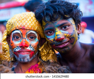 NAGPUR, MAHARASHTRA, INDIA, 27 SEPTEMBER 2017 : Portrait Unidentified tiger dance artists painted body for tiger dance. Tiger dance is a traditional folk art performed during festival.