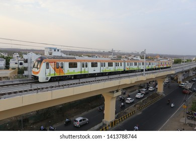 NAGPUR  MAHARASHTRA /INDIA -The Maharastra Metro Rail Corporation (Maha Metro) Started 1st Trial Run for Nagpur Metro Reach 3 on 30 May 2019, between Lokmanya Nagar and Subhash Nagar Metro Stations.