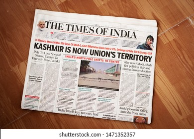 Nagpur, Maharashtra/India - August 05 2019 : Kashmir is now union territory title in Times of India newspaper