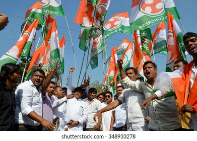 NAGPUR, MS, INDIA - DECEMBER 8: Protest rally against BJP Government for Farmer problems in Assembly Winter Session organized by Congress party on December 8, 2015 in Nagpur, Maharashtra, India.
