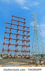 NAGPUR-INDIA-JUNE 18 : Assembly of steel tower for load test in station test on June 18, 2015 Nugpur Province, Thailand
