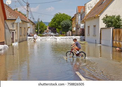 NAGYMAROS, HUNGARY - JUNE 9, 2013: Water on the streets of Nagymaros during the the record-breaking flood on the river Danube in 2013