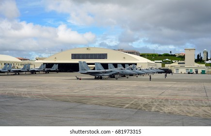 NAHA, JAPAN -29 JUN 2017- Japanese military airplanes at the Naha Airport (OKA), the main commercial airport in Okinawa in the south of Japan. It is also used by the Japan Air Self Defense Force.
