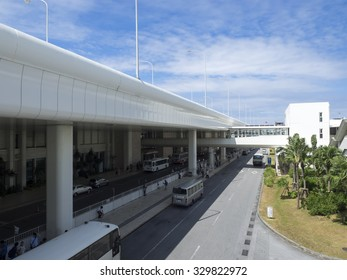 Naha, Japan - September 21, 2015: Naha Airport domestic Terminal Building. It is Japan's seventh busiest airport and the primary air terminal for passengers and cargo.