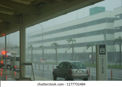 Naha, Okinawa - 08 01 2014: Summer Typhoon hitting Okinawa airport