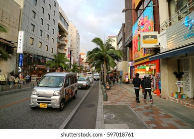 NAHA, OKINAWA, JAPAN - MARCH 2, 2017 : Kokusai Dori street in Naha, Okinawa, Japan. There are many souvenir shop, restaurant, fashion store and market. Shopping street in Okinawa.