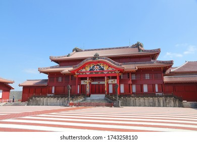 Naha, Okinawa / Japan - Oct 10, 2019. The main hall of Shuri Castle with a dragon decoration, in Naha, Okinawa, Japan. Destroyed in a fire in 2019.