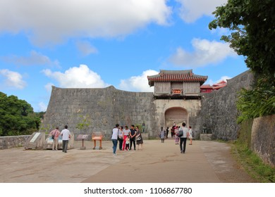 Naha, Okinawa Prefecture, Japan - May 12,2018: Shuri Castle is a Ryukyuan gusuku in Shuri, Okinawa. Between 1429 and 1879, it was the palace of the Ryukyu Kingdom, before becoming largely neglected.