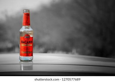 Nahargarh Fort,JAIPUR -December 18,2018:Bottle of bacardi with black background, - Image