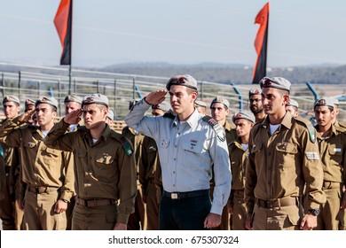 Nahariya, Israel, June 29, 2017 : Soldier of the IDF salute at the evening formation in Nahariya, Israel