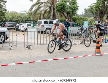 Nahariyya, Israel - May 06, 2017 : Participant of the annual triathlon starts from the start in the competition in cycling in Ahziv, near the town of Nahariya