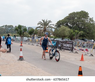 Nahariyya, Israel - May 06, 2017 : Participant of the annual triathlon finishes after a bicycle ride to Ahziv, near the town of Nahariya
