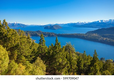 Nahuel Huapi National Park aerial view from the Cerro Campanario viewpoint in Bariloche, Patagonia region in Argentina.