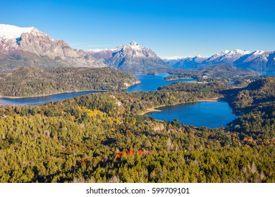 Nahuel Huapi National Park panoramic view from Cerro Campanario viewpoint in Bariloche, Patagonia region in Argentina.