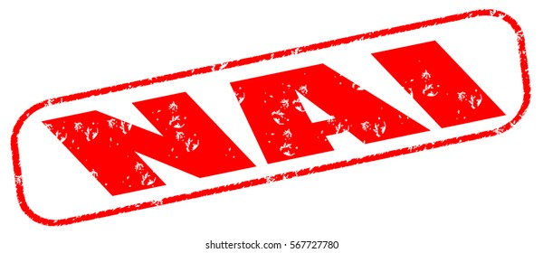 nai red stamp on white background.