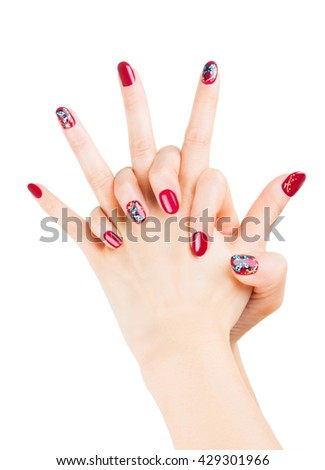 Nail Art Beautiful Woman Hands Isolated Stock Photo Edit Now