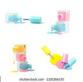 Nail art concept. Fine art cosmetics and beauty image of a group of three colorful nail polish bottles on spilled paint isolated on white. Top view, flat lay. Free Copy space