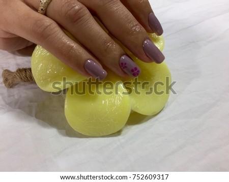 Nail Art Designs Purple Orchid Gel Stock Photo Edit Now 752609317