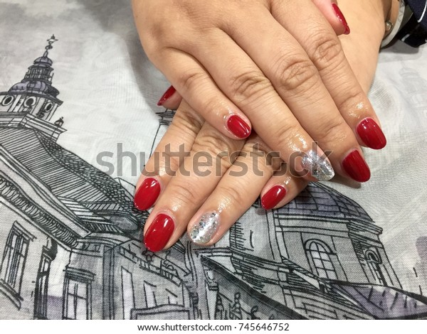 Nail Art Designs Red Silver Glitter Stock Photo (Edit Now