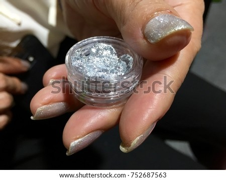 Nail Art Designs Silver Glittery Accent Stock Photo Edit Now