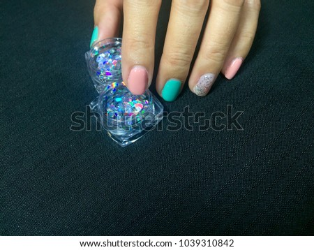 Nail Art Glitter Green Pink Nail Art Stock Photo Edit Now
