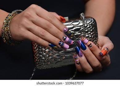 nail art with handbag painted nails