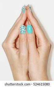Nail art manicure. Beauty hands. Trendy Stylish Colorful Nails and Nailpolish. Manicure nail paint.