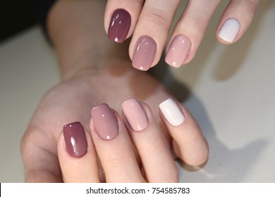 Nail art manicure. Beauty hands. Trendy Stylish Colorful Nails and Nailpolish. Manicure nail paint.