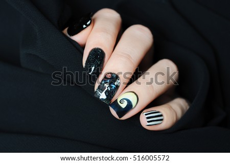 nail art manicure in the style of nightmare before christmas - Nightmare Before Christmas Nail Art