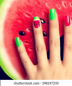 Nail art manicure. Watermelon style bright summer Art Manicure. Nail Polish. Beauty hands. Trendy Stylish Colorful Nails and Nailpolish